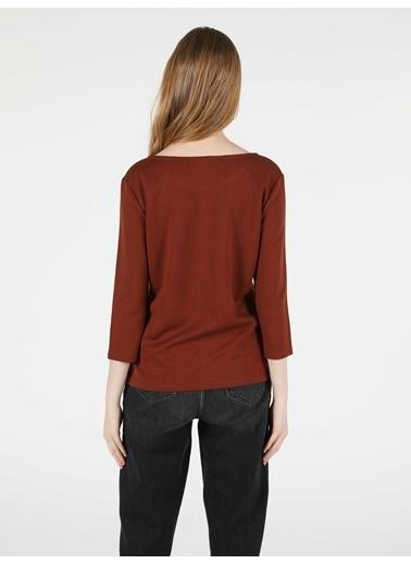 Colin's Regular Fit Derin Yuvarlak Yaka Kadın Kahverengi Tshirt U.Kol Kahve